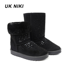 UKNIKI shoes women winter boots Female with plush mid-calf boots boots snow boots