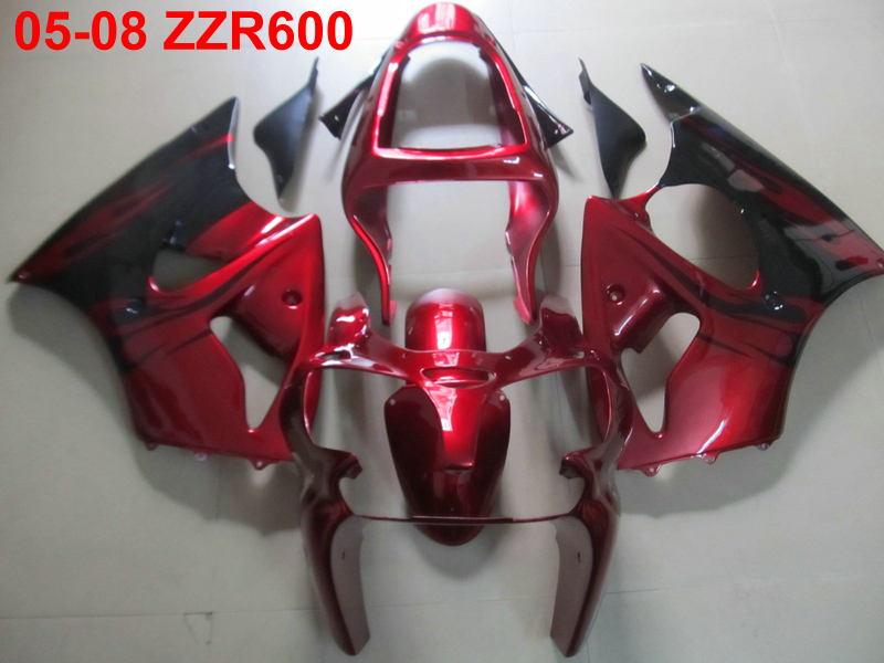 Injection mold free 7 gifts fairing kit for Kawasaki Ninja ZZR600 05 06 07 08 wine red black fairings set ZZR600 2005-2008 TW20
