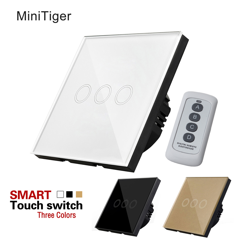 MiniTiger EU Standard 3 Gang 1 Way Remote Control Light Switch, RF433 Remote Touch Light Switch, Wall Light Touch Screen Switch smart home uk standard crystal glass panel wireless remote control 1 gang 1 way wall touch switch screen light switch ac 220v