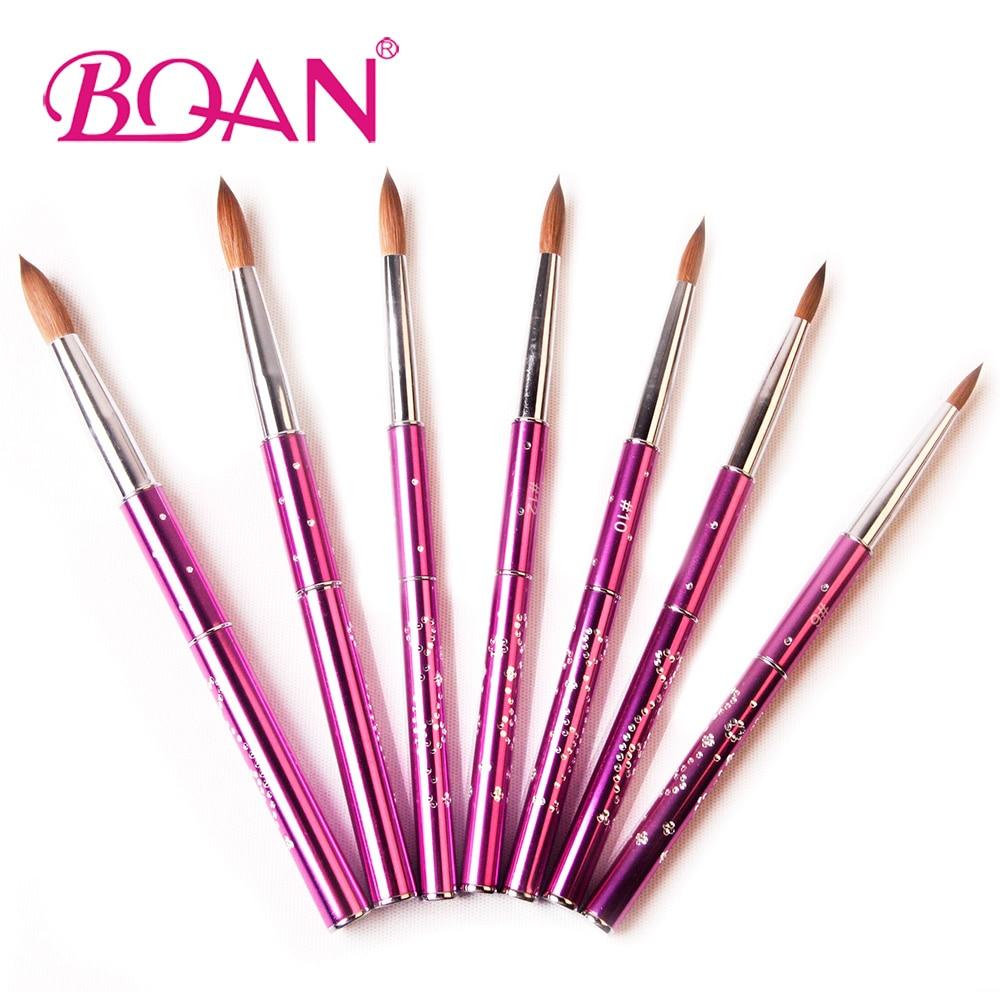 Image 2 - BQAN 10pcs #6#8#10#12#14#16#18 Kolinsky Sable Brush Acrylic Nail Art Brush Nail Art Brush Violet Metal Crystal Acrylic Brush-in Nail Brushes from Beauty & Health