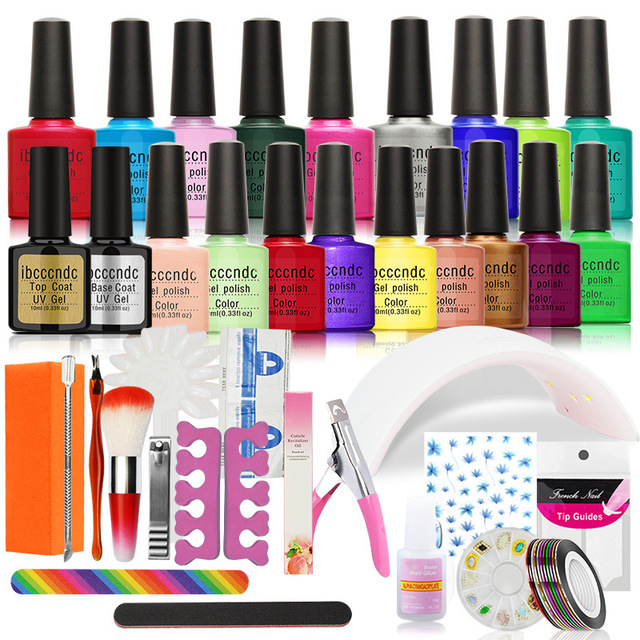 Nail Art DIY Full Set Soak Off Uv Gel Polish Manicure Set 24W Curing ...