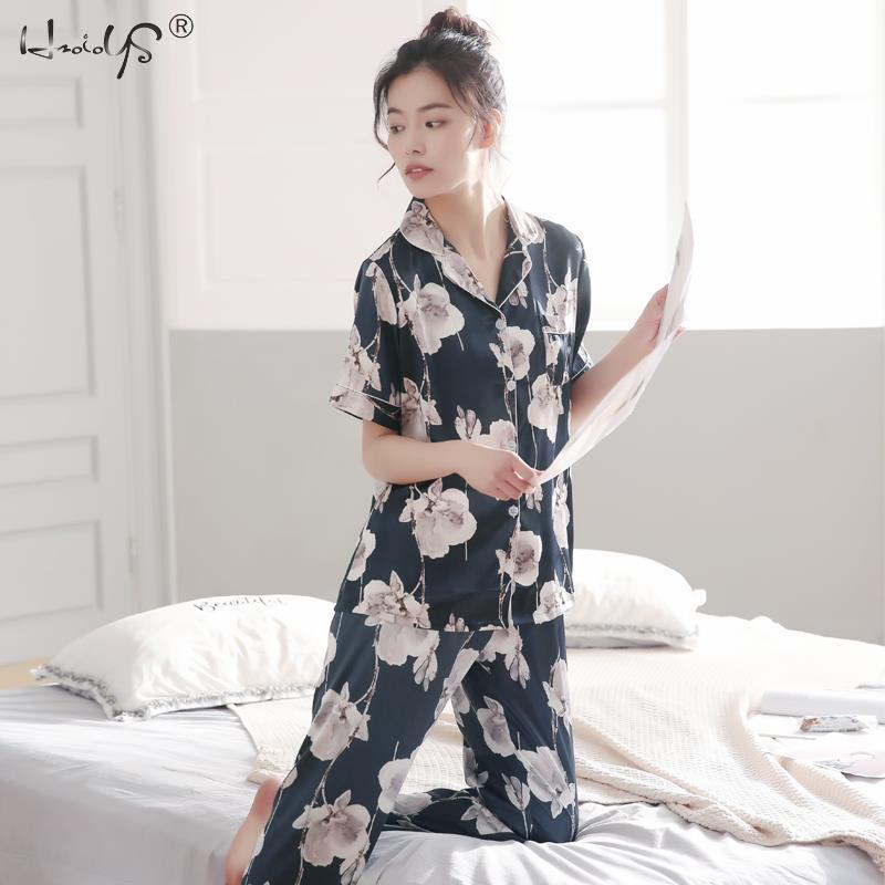 Image 4 - Lovers Winter Pajamas Couples Unisex Silk Sleepwear Soft Pyjama Sets Nightgown Women Pajama Sets Long Sleeve Men Lounge Pijamas-in Men's Pajama Sets from Underwear & Sleepwears