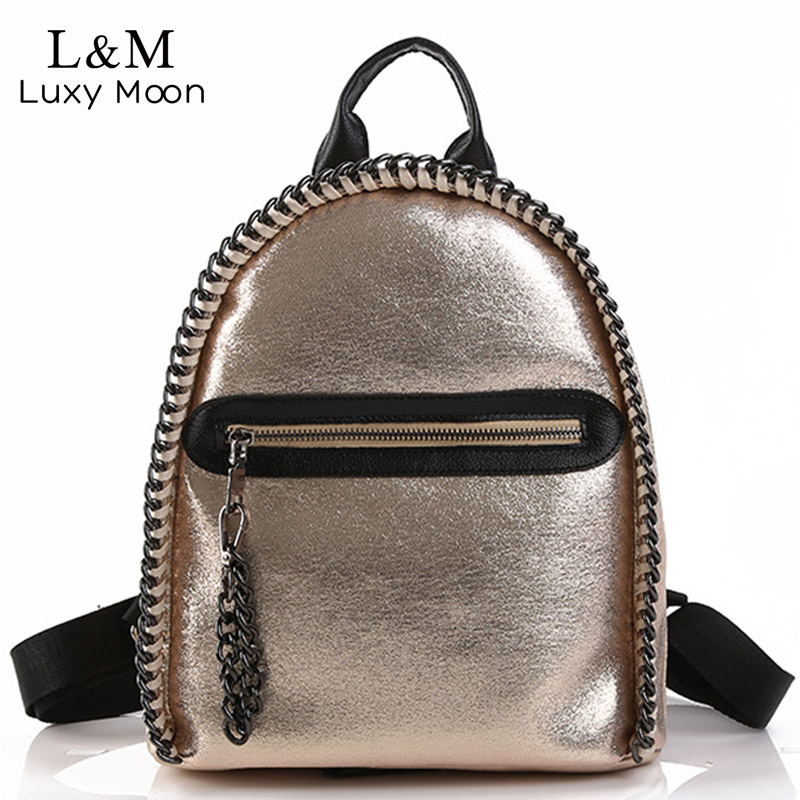 Women Backpack Glitter Teenage Girls Soft Sliver PU Leather Backpacks Students School Rucksack Chains Shiny Bag