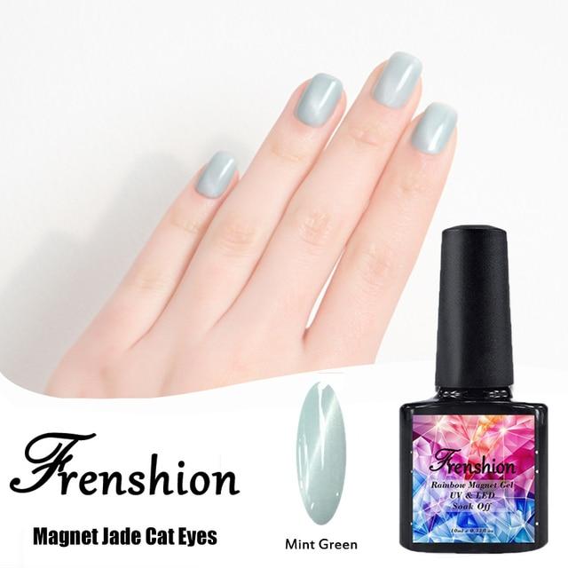 Frenshion 10 ML Jade Imán Gato de Ojos de Esmalte de Uñas Verde ...