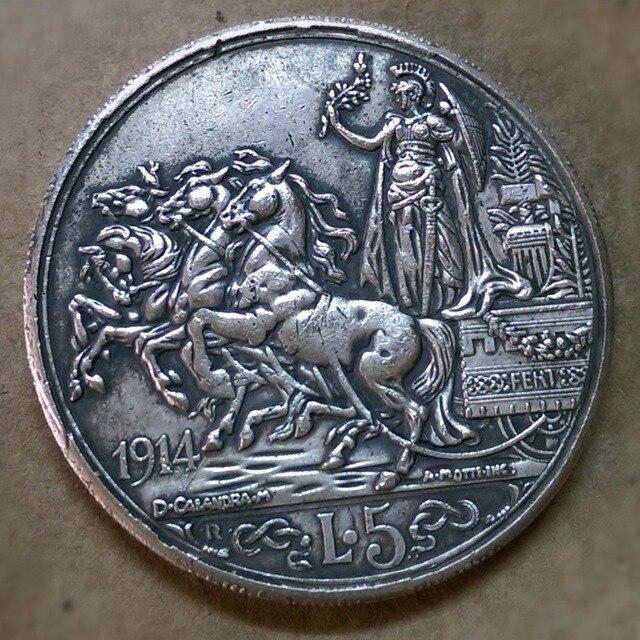 1914 Italien 5 Lire Corcos Emanuele Iii Silber überzogene Münze In