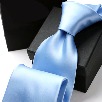 High Quality 2019 New Silk Ties For Men 9cm Luxury Solid Necktie Designers Brand Men's Ties Gravatas Masculinas Blue Gift Box