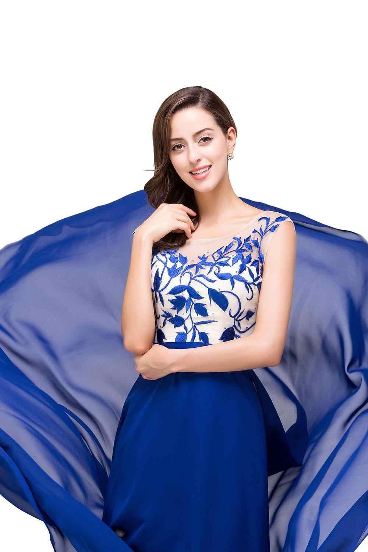 2019 קו אלגנטי שווי שרוול רויאל בלו שיפון ארוך ערב שמלות Robe דה Soiree לונג מסיבת ערב שמלה