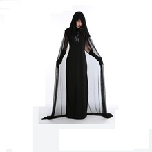Witch Costume Black Evil Costume Long Female Cosplay Costume Halloween Costume Cheap Witch Clothing