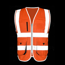 Red Orange Yellow High Visibility Reflective Safety Work Vest With Chest Pockets Reflective Tapes Zipper Closure(China)