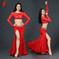 Belly Dancing Clothing Women Belly Dance 2 Pcs Suit Top Lace Long Skirt Girls Belly Dance