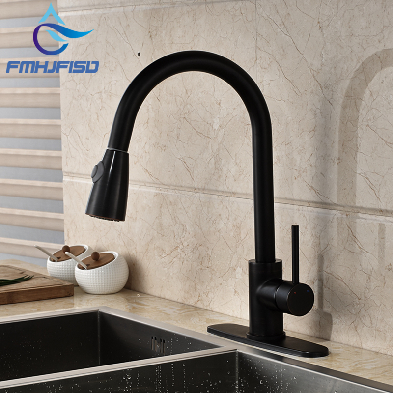 Luxury Oil Rubbed Bronze Pull Out Kitchen Faucet Swivel Spout Vessel Sink Mixer Tap with Hole Cover Plate