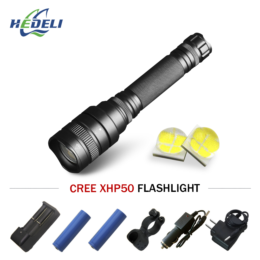Humorous Searchlight Rechargeable Powerful Led Flashlight 18650 Telescopic Zoom Xhp50 Torch Flashlight Camping Led Lantern Lampe Torche Buy One Get One Free Led Flashlights