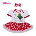 Baby Girls Christmas Gift Clothing 2016 Cotton Short Sleeve Bodysuit Dresses For 0-2Years Infant Baby Girl Christmas Clothes