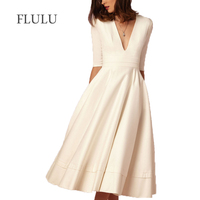 FLULU Vintage Autumn Summer Dress Women 2018 Casual Plus Size Elegant Ball Gown Dress Female Sexy V Neck Long Party Dresses 3XL