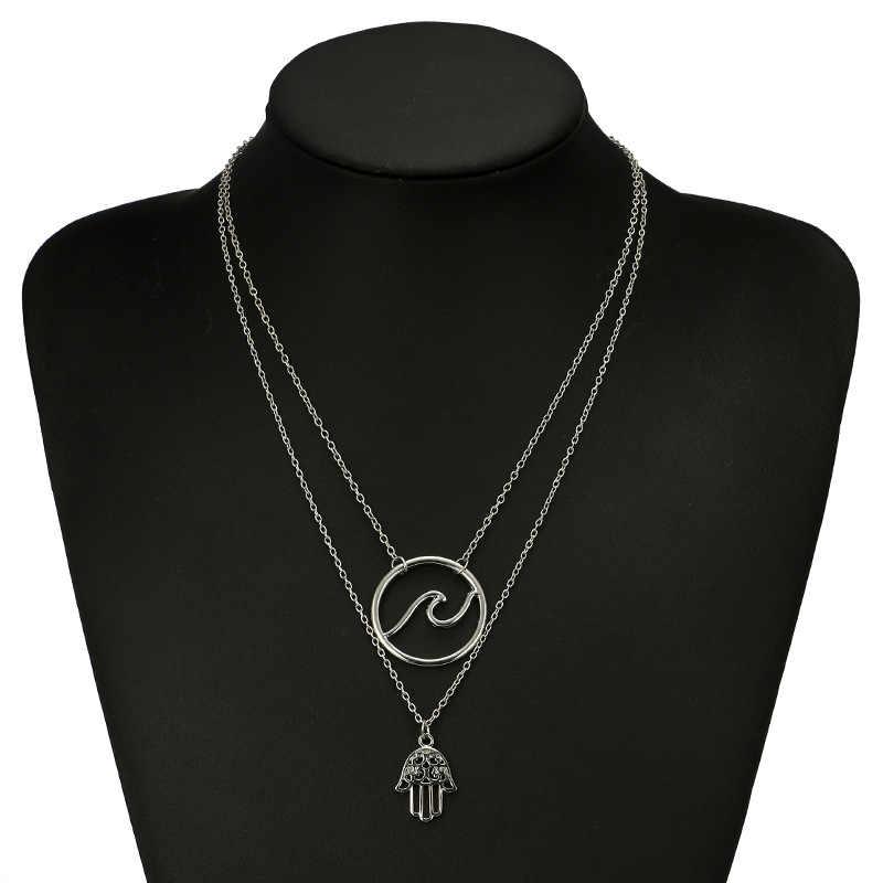 2018 nowych moda kolor srebrny fala z ręczny wisiorek naszyjnik dla kobiet prezent geometryczne warstwowe wisiorek naszyjniki długie obroże