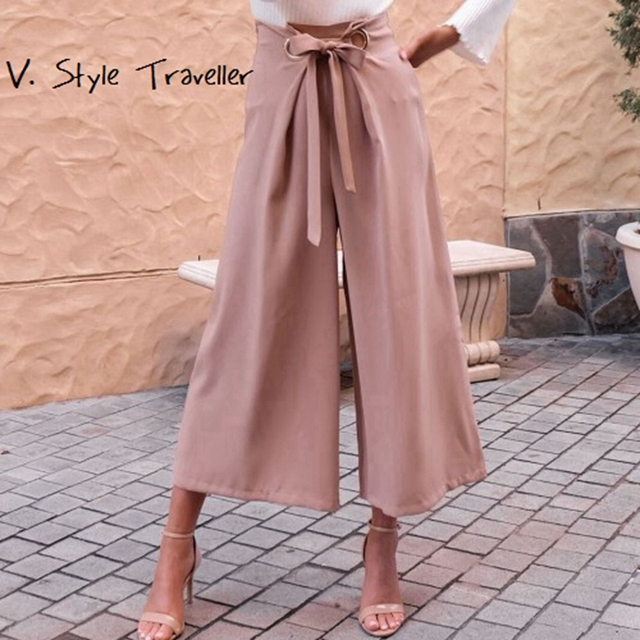 455c1cf69e23 High Rise Office Lady Palazo Casual Wide Leg Pants Women Pink Capris  Pleated Zipper Sash Tie Beach Boho Bohemia Loose Trousers