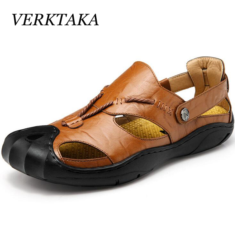 Verktaka genuine leather men sandals summer cow leather new for beach male shoes mens gladiator sandal leather sandals 38-46