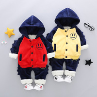 Toddler Boys Clothing Set Gold Velvet Smiley Embroidery Thicken Child 2pcs Winter Suits for Boys Newborn Baby Kids Clothes Sets