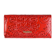 New Fashion Genuine Leather Women Wallet Vintage Flower Printed Ostrich Wallets Ladies Long Clutches With Coin