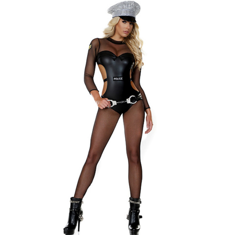 new halloween Plus size Policewoman costume Sexy Female police cosplay Game uniform Nightclub Carnival Masquerade Party clothing