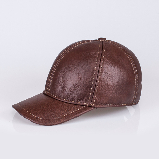 HL023  genuine leather men baseball cap hat CBD high quality  men's real leather adult solid adjustable hats caps