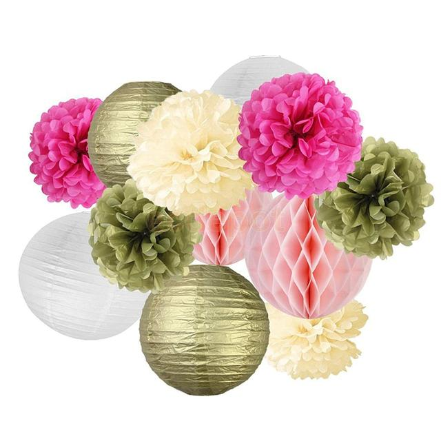 Set of 12pcs colorful tissue paper flower balls honeycomb lanterns set of 12pcs colorful tissue paper flower balls honeycomb lanterns wedding party centerpieces decoration mightylinksfo