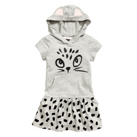 Fashion Girls Clothes Children Dress Grey Hooded Kitten Printed Kids Casual Dress Sports Wear 2 7years