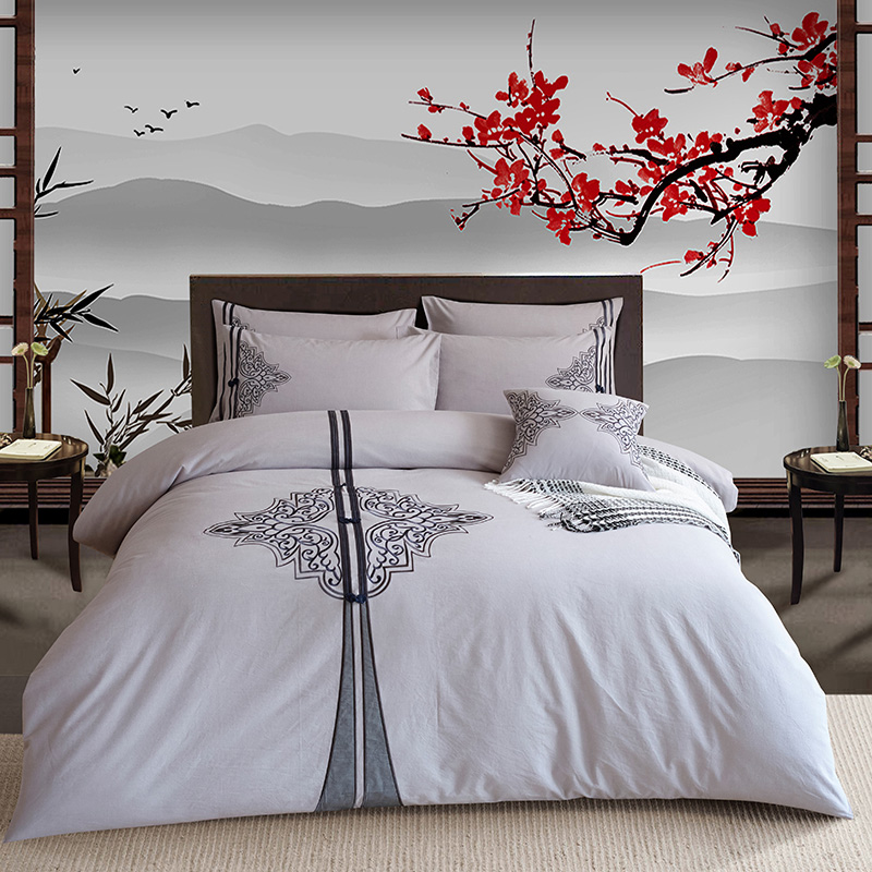 Traditional Embroidered Oriental Retro Style Bedding set 4Pcs King Queen size Bed/Fit sheet set Duvet/Quilt cover Pillow shamsTraditional Embroidered Oriental Retro Style Bedding set 4Pcs King Queen size Bed/Fit sheet set Duvet/Quilt cover Pillow shams