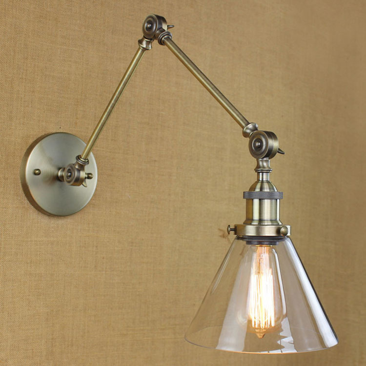 industrial style antique rust iron glass wall lamp/swing ...