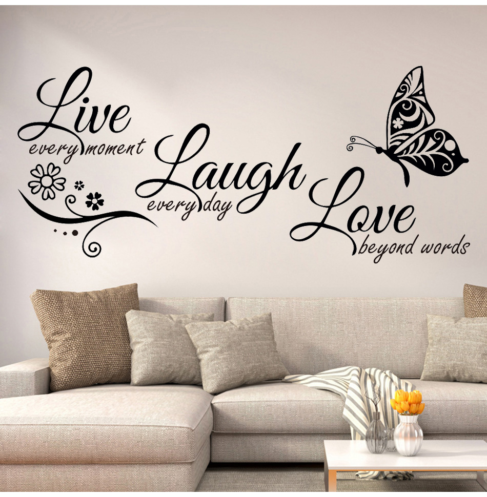 Live Laugh Love Erfly Flower Wall