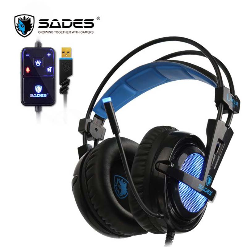 SADES Locust Plus 7.1 Surround Sound Hörlurar USB Gaming Headset Mjuk läder huvudband