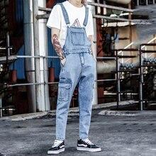 2019 New Bib Male Korean version of the Slim feet Denim Jumpsuit Nine points Retro Light tooling Suspenders Size M-XXL