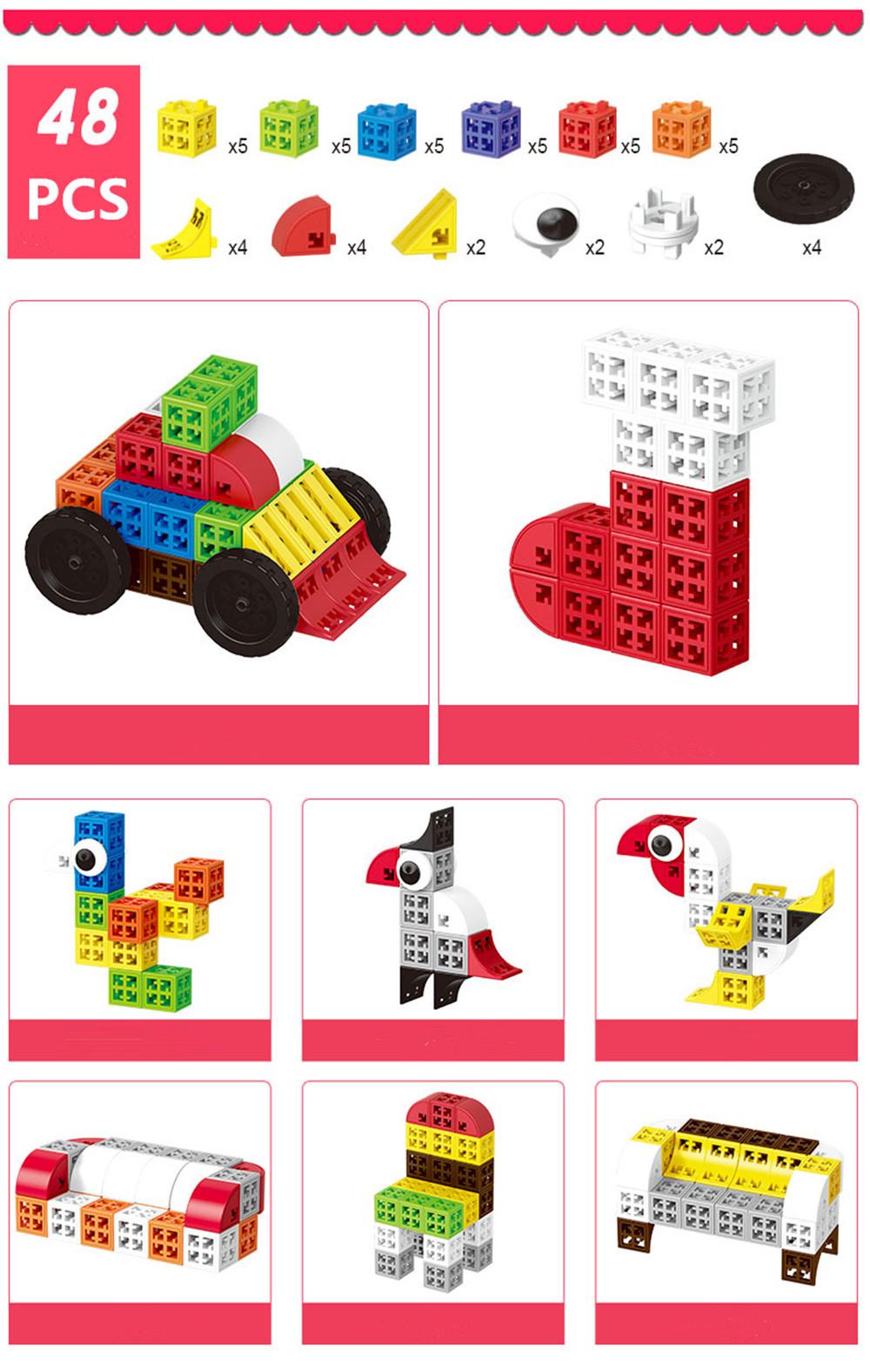 34/48/88/138/188pcs Blocks Cubes Unit Plastic Interlocking Construction Model Building Set of Early Educational Toys For Child 12