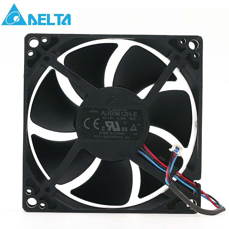 Original Delta AUB0812H-E ROO 12V 0.3A 8CM 3 wire projector axial cooling fan 3000RPM 35CFM купить дешево онлайн