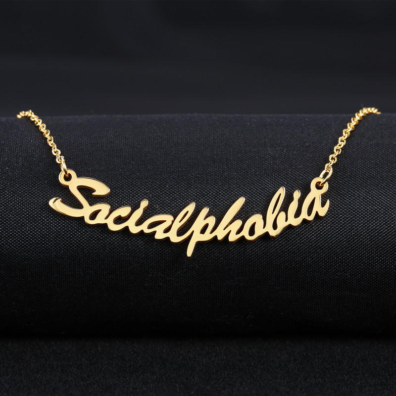 Name Necklace Gold Color Stainless Steel Personalized Custom Necklaces For Gift Nameplate Pendant Choker Not Change Color