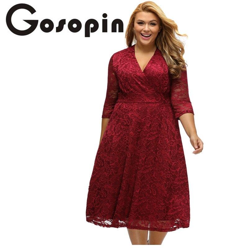 Gosopin spitze kleider frauen nehmen arbeitskleidung burgund herbst plus größe meßhemd formale...