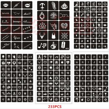 233 sztuk zestaw Airbrush wzornik wielokrotnego użytku Henna szablony do malowanie ciała tatuaż brokatowy szablon zestawy tanie i dobre opinie Vieruodis HES51 Tattoo stencil