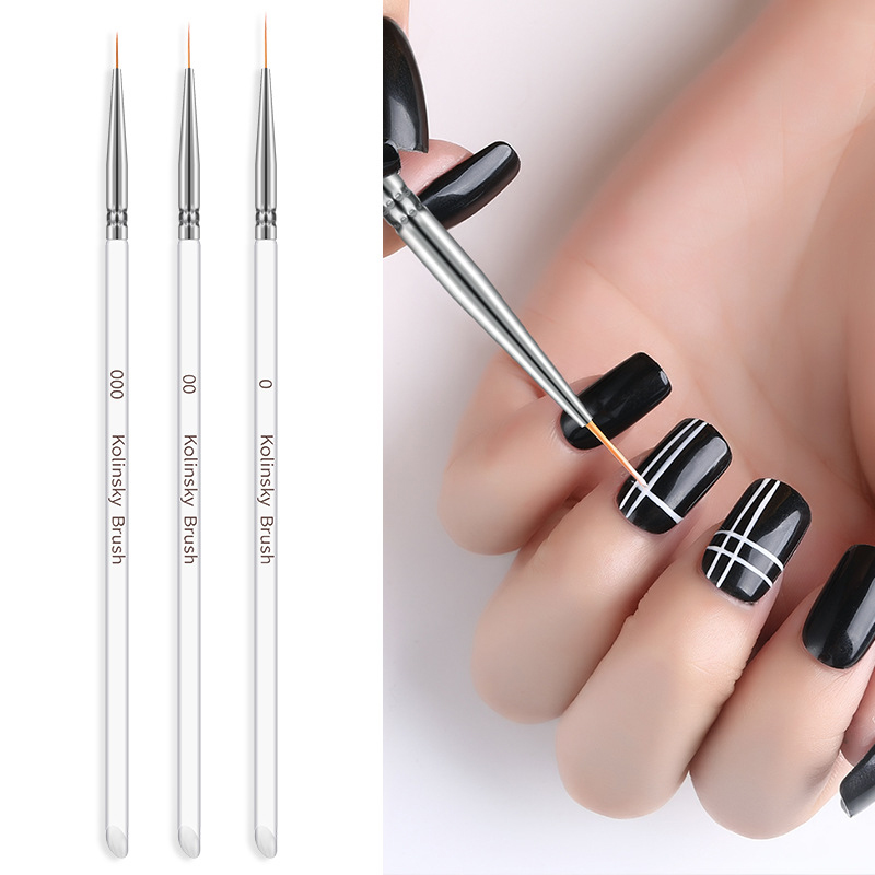 3PC Kolinsky Nail Art Brush Crystal Acrylic Thin Liner Drawing Pen UV Gel Painting Stripes Flower 2 Side Nail Art Manicure Tools