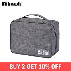 Mihawk Водонепроницаемый цифровые сумки путешествия USB кабель Tote жесткий диск провода случае Мощность Bank Мобильный телефон сумка-Органайзер