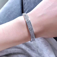 Titanium Steel Cubic Zirconia Micro Paved Full Stone Screw Bracelets Love Bangles Men Women Bracelet Femme Free Shipping