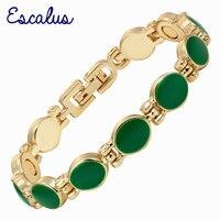 Escalus النساء الذهبي سوار المغناطيسي الصحة الطاقة 11 قطع الأخضر الايبوكسي الإسورة السيدات والمجوهرات هدية الذكية معصمه سحر