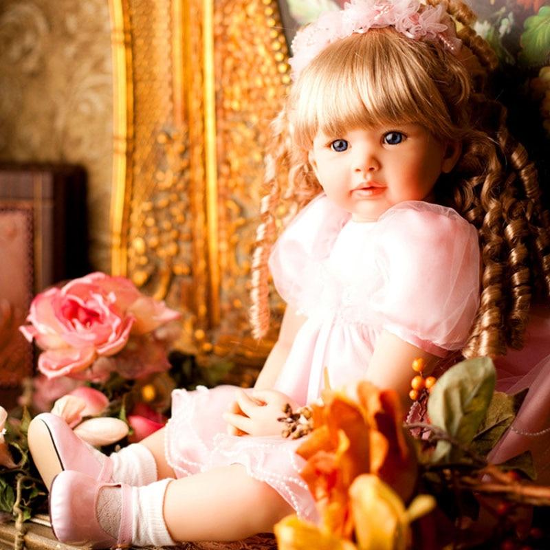 24Inch 61CM Lifelike Reborn Baby Doll Soft Doll Silicone Bebe Girl Cute Toy