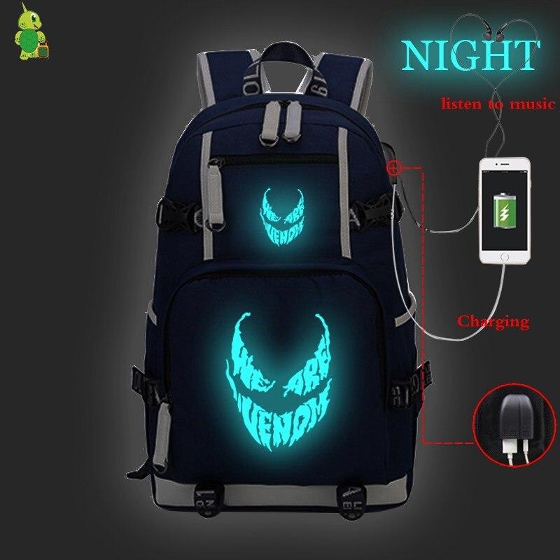 Laptop Backpack Travel-Bags Comics Usb-Charge Venom Women Luminous Teenage Girls