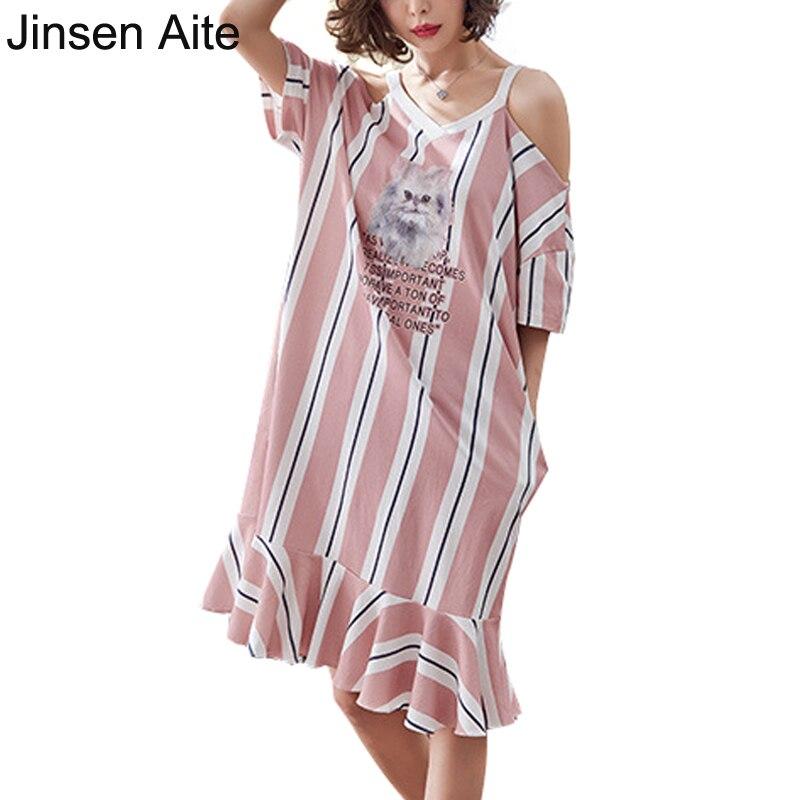 de0bf63e14fdaa Jinsen Aite Women Summer Nightwear Length Plus Size M-4XL Print Loose Sexy  Night Shirt Sleepwear Nightgown Chemise De Nuit JS595