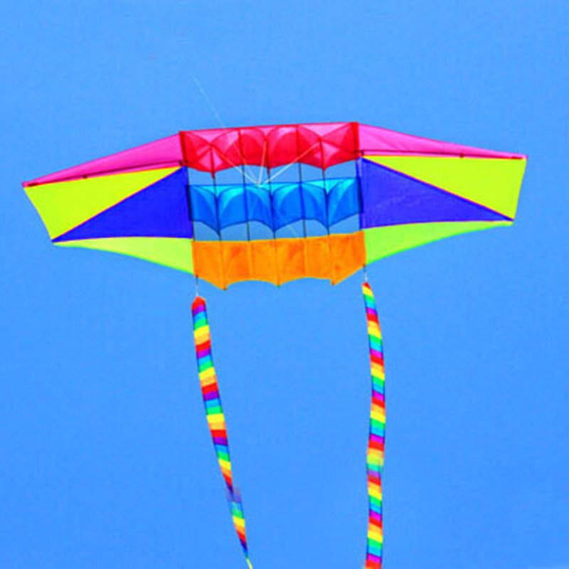 free shipping 2.5m radar kite with 10m rainbow tails nylon ripstop outdoor toys kites reel bag windsock vliegers weather vane enhanced windsock wind vane double frame skeleton
