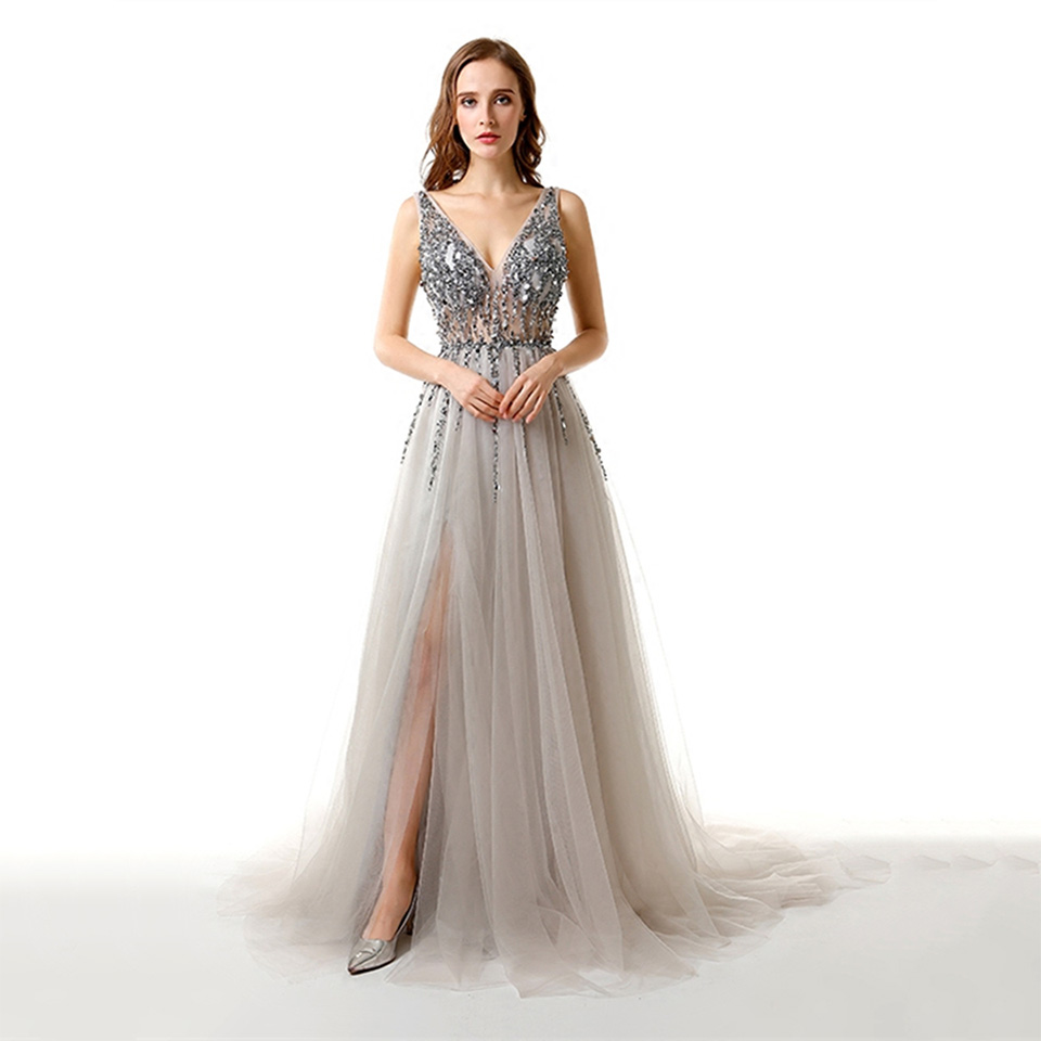 Dressv V Neck Elegant Evening Dress A Line Sleeveless Backless Straps Beading Wedding Party Formal Dress Tulle Evening Dresses