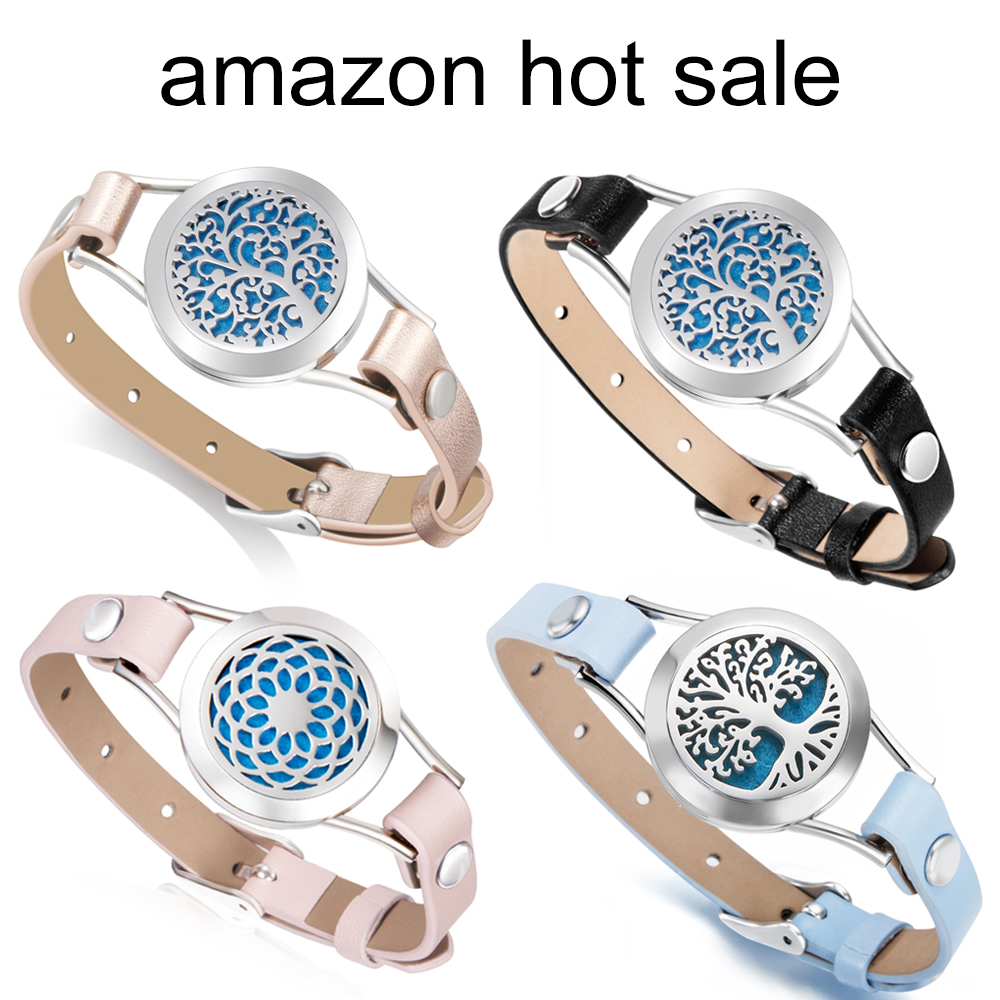 Amazon hot sale stainless steel Aromatherapy Essential Oil Diffuser Bracelet 316L Locket genuine Leather bracelet free