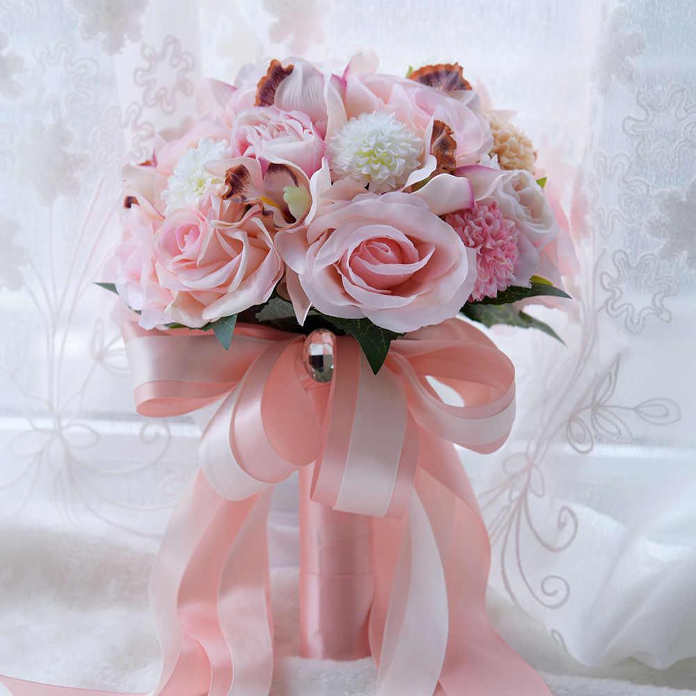 Fatti a mano Bouquet Da Sposa Di Alta Qualità Romantico Rosa Rosa Coperte e Plaid Bouquet Da Sposa Damigella D'onore Bouquet Sposa Azienda Fiori de noiva