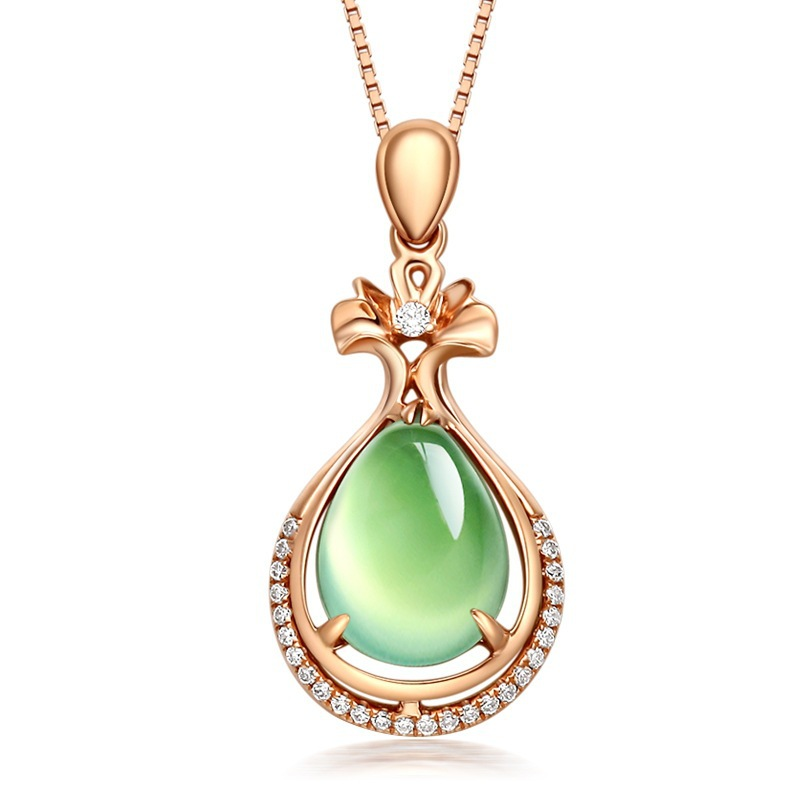 14k Rose Gold Grapevine Jade Pendant Line Chian Diamond Gemstone Necklace Turquoise Women Pierscionki Naszyjnik Colare Girl