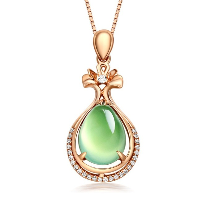 14k Rose Gold Grapevine Jade Pendant Line chian Grace Mosaic Diamond Gemstone Necklace Turquoise Pingente Women naszyjnik colare